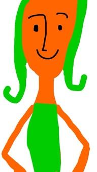 Green hair woman