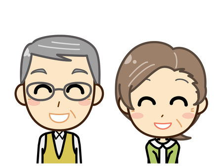 Senior man and woman _ upper body _ smile