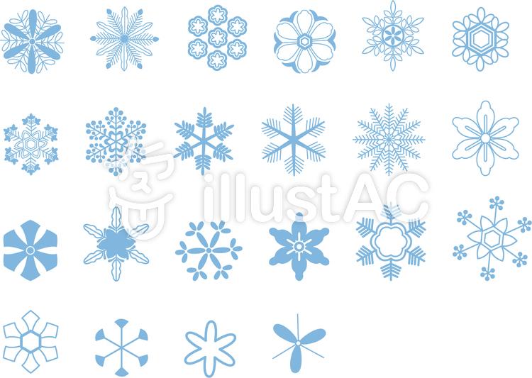 和風雪の結晶22点セットイラスト No 154450無料イラストなら