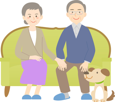 An old couple sitting on the sofa