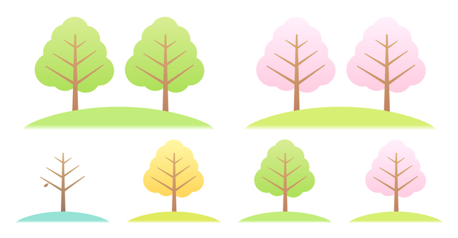 Tree set (four seasons)