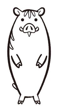 いのしし 年賀状 モノクロ