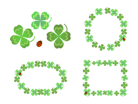 Set of four leaf clover and ladybug