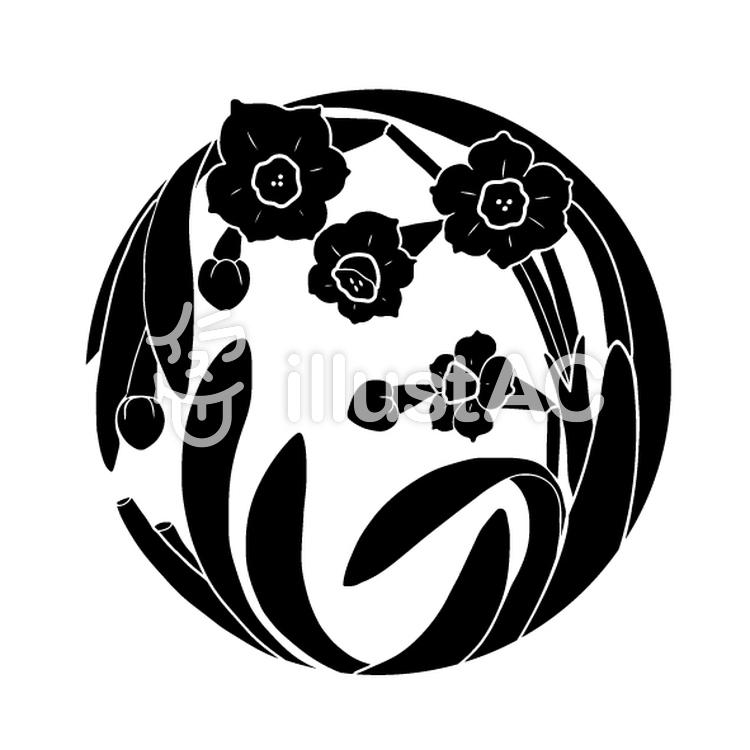 花丸紋様(単色/水仙)のイラスト