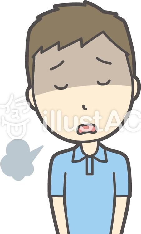 青ポロシャツ男性-025-バストのイラスト