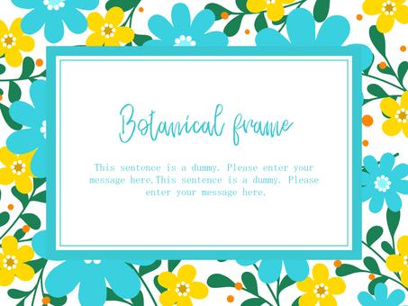 Scandinavian style flower frame 01 / blue b