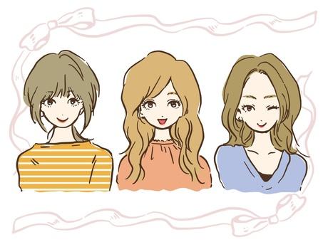 Three girls (upper body)