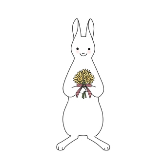 Rabbit and bouquet