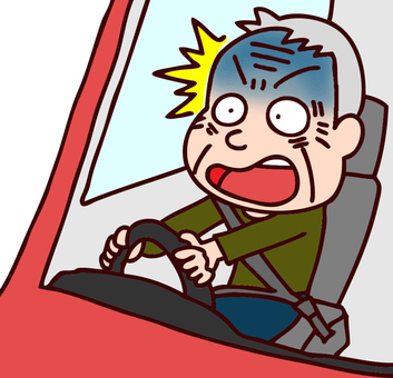 Illustration of elderly people rushing while driving