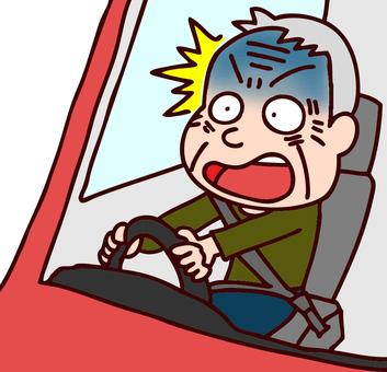 老人在開車時衝的插圖