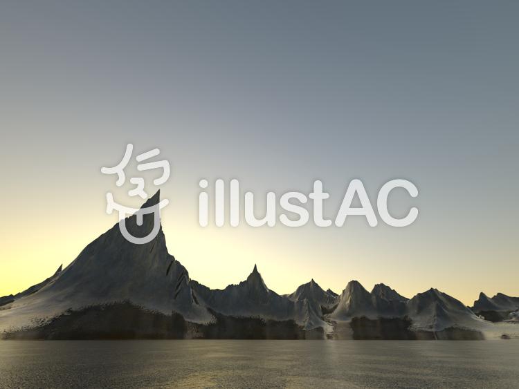 幻想的なファンタジーな景観(日没)のイラスト