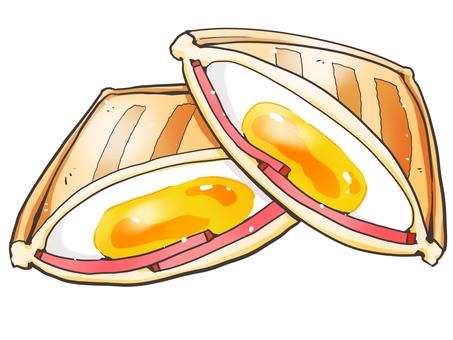 Hot sandwich (Tamago & Ham)