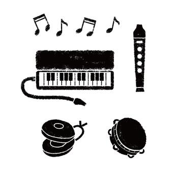 School music instruments monochrome