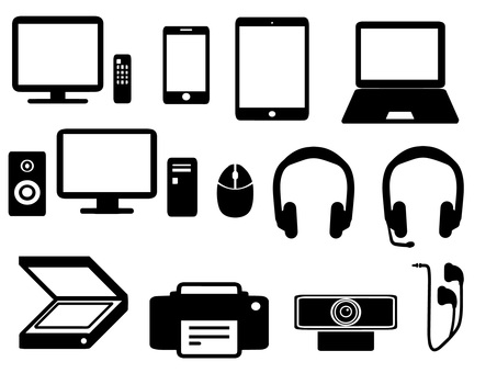 IT equipment silhouette set