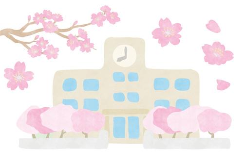 그린 _ 학교와 벚꽃 -2