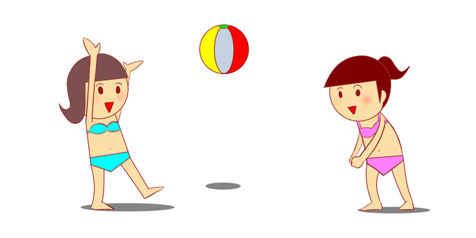 Women playing with beach ball