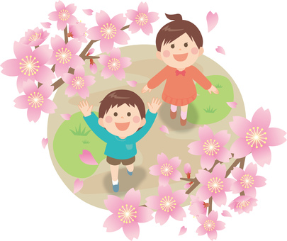 Cherry Blossoms and Children