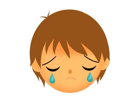 Crying brown hair boy