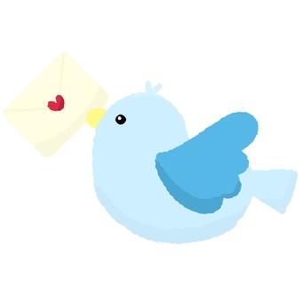 Blue bird holding a love letter
