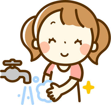 A girl washing hands