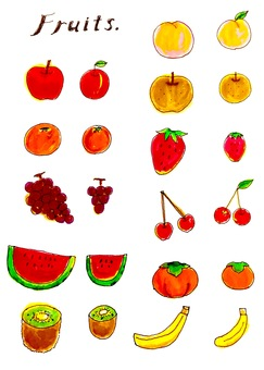 Watercolor hand-painted fruits
