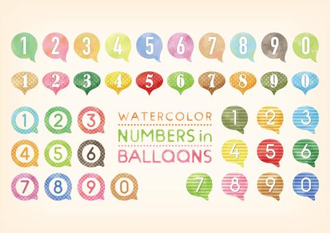 水彩觸摸氣球數字