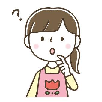 Hand-painted cute female nurse / worry / think