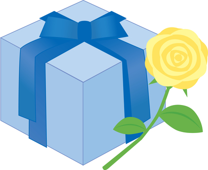 Yellow roses and gift boxes