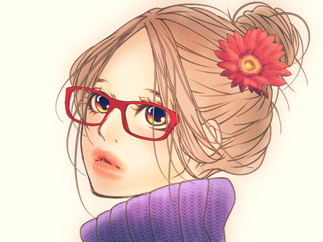 Yuuwawa dumpling hair (glasses)