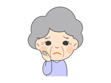 Granny with troubled face