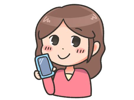微笑與智能手機的女人