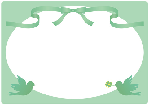 Ribbon and bird frame (green)
