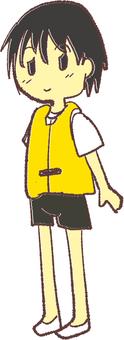 Boy wearing a lifejacket