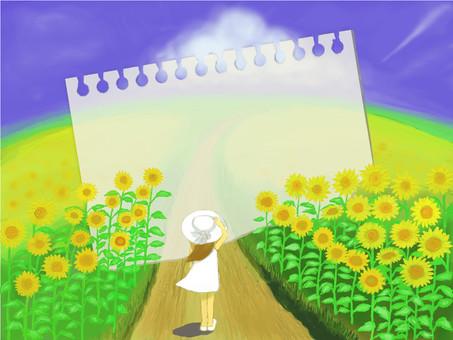 Summer landscape Sunflower · Girl · Sketchbook