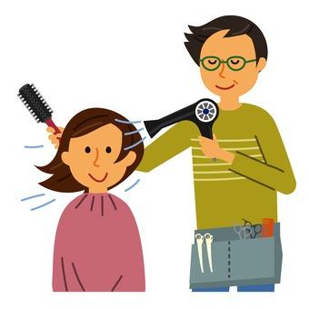 Hairdresser doing hair setting