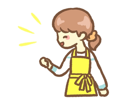 Laughing woman in apron