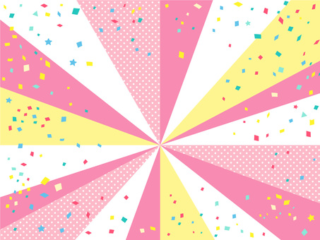 Cute pink pop concentrated lines and confetti