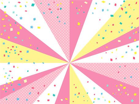 귀여운 핑크 팝 집중 선과 색종이