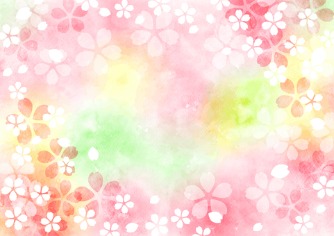 Watercolor cherry blossom spring color fluffy background