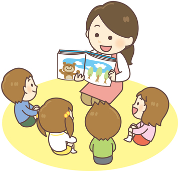 Nursery teacher _ reading a picture book 02