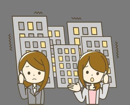 비상 전화 (밤) 빌딩 많다