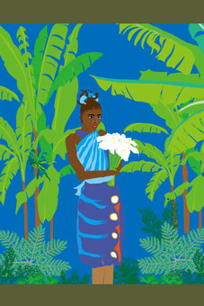 Tropical paintings with tropical women and jungle
