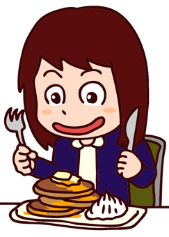 Illustration of a woman eating a pancake