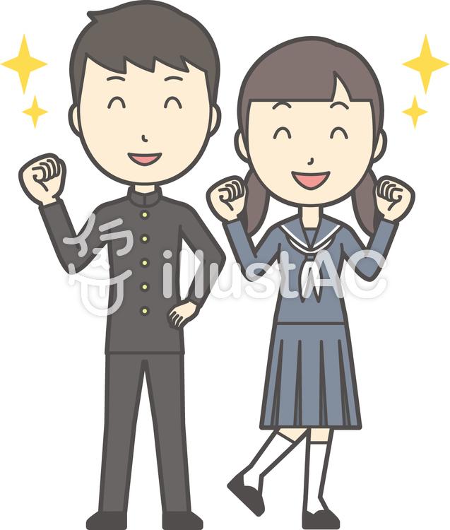 中学生男女セット-052-全身のイラスト