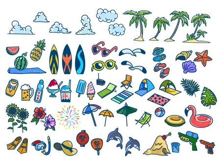 Summer motif illustration set