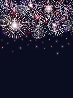 Fireworks floating in the dark night