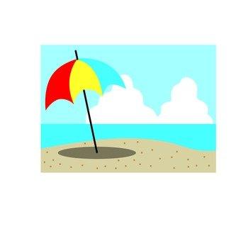 沙滩,遮阳伞
