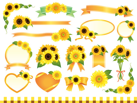 Summer sunflower flowers and ribbon frame · material collection