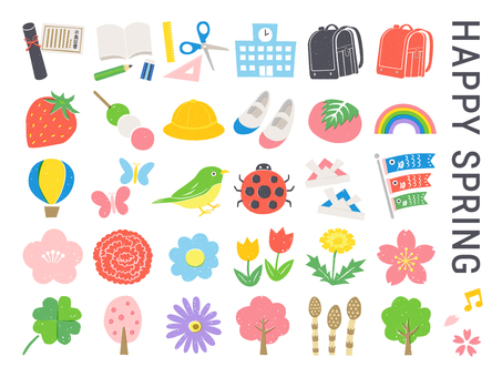 Cute illustration set of school with spring and flowers
