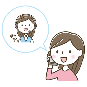 Cute woman making a phone call / hand drawn